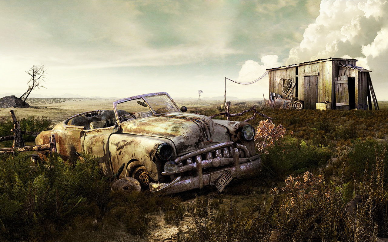 Abandoned-Car-Art-Wallpaper