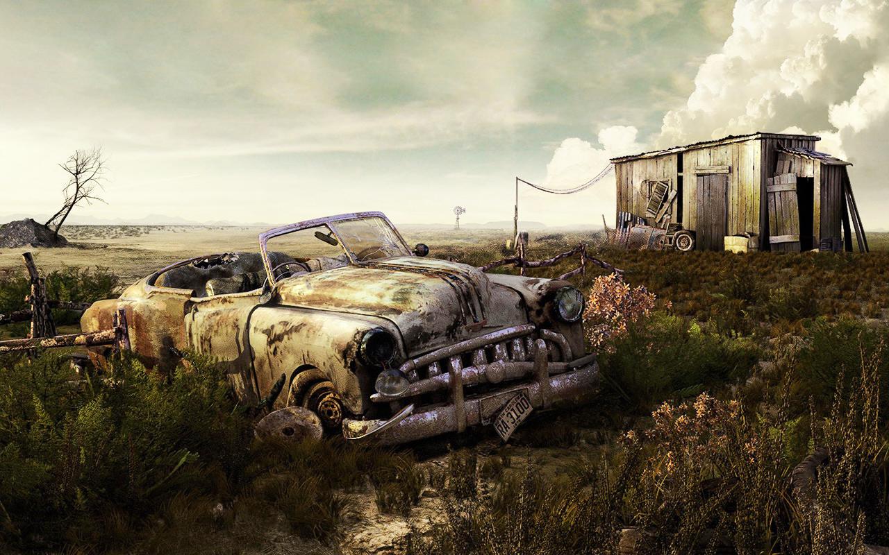 Abandoned-Car-Art-Wallpaper